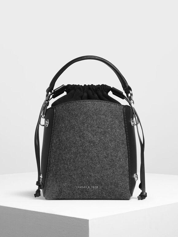 Structured Drawstring Bucket Bag, Black, hi-res