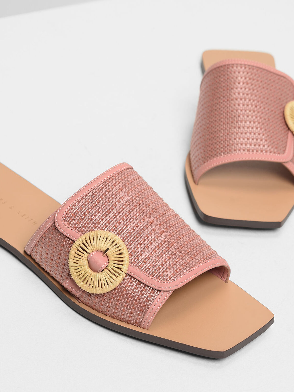 Raffia Round Buckle Sliders, Blush, hi-res