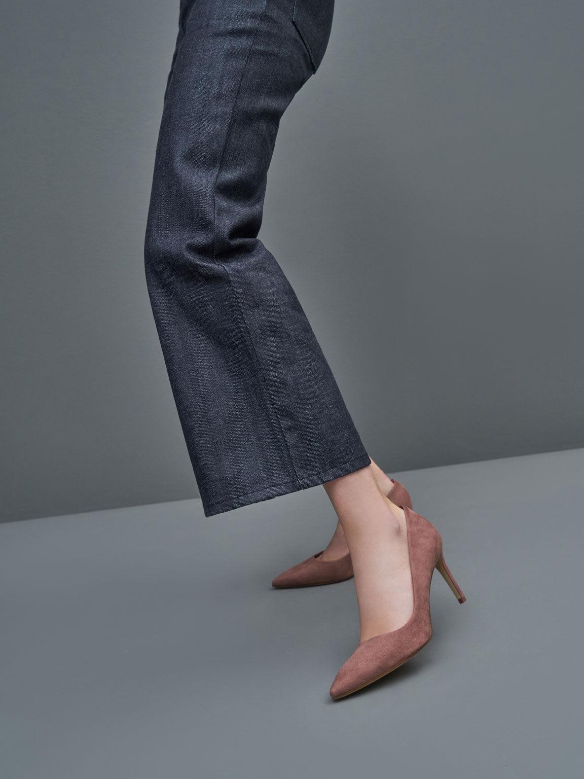 仿麂皮尖頭高跟鞋, 紫灰色, hi-res