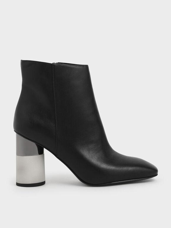 Concrete Heel Ankle Boots, Black, hi-res
