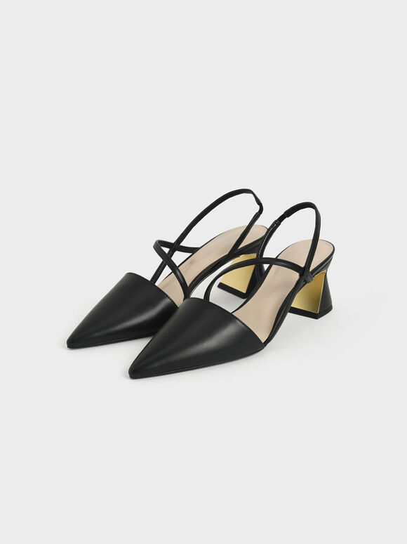 幾何帶三角跟鞋, 黑色, hi-res