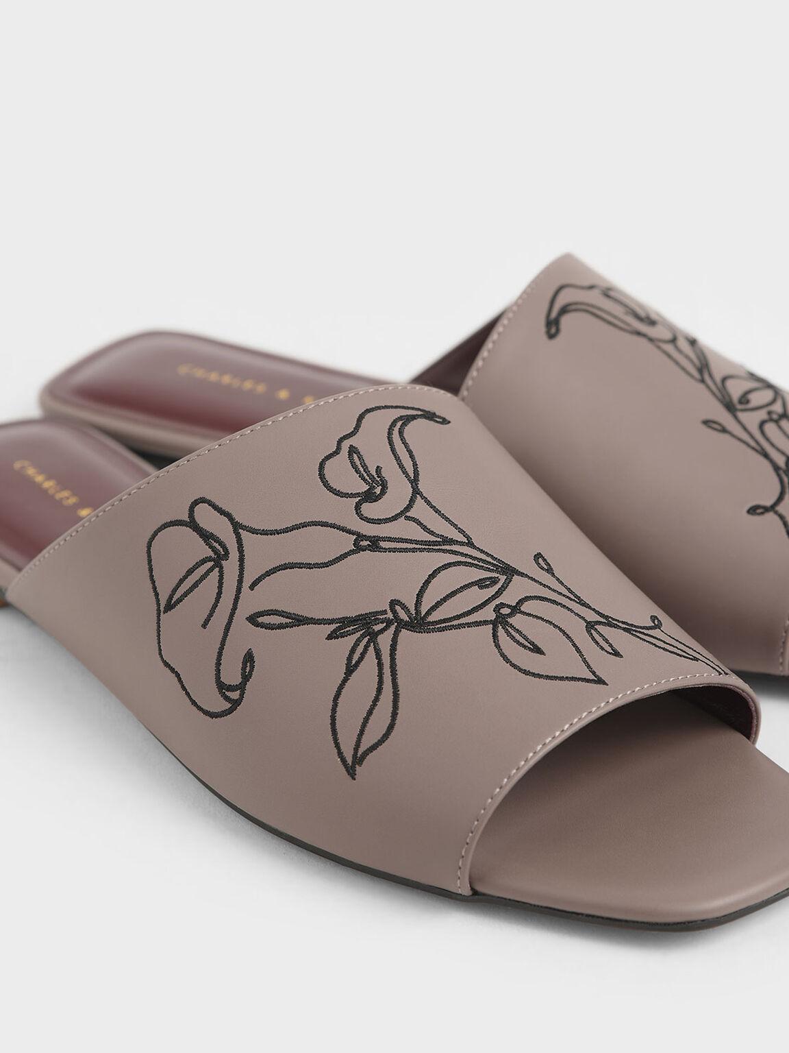 Floral Embroidered Slide Sandals, Mauve, hi-res