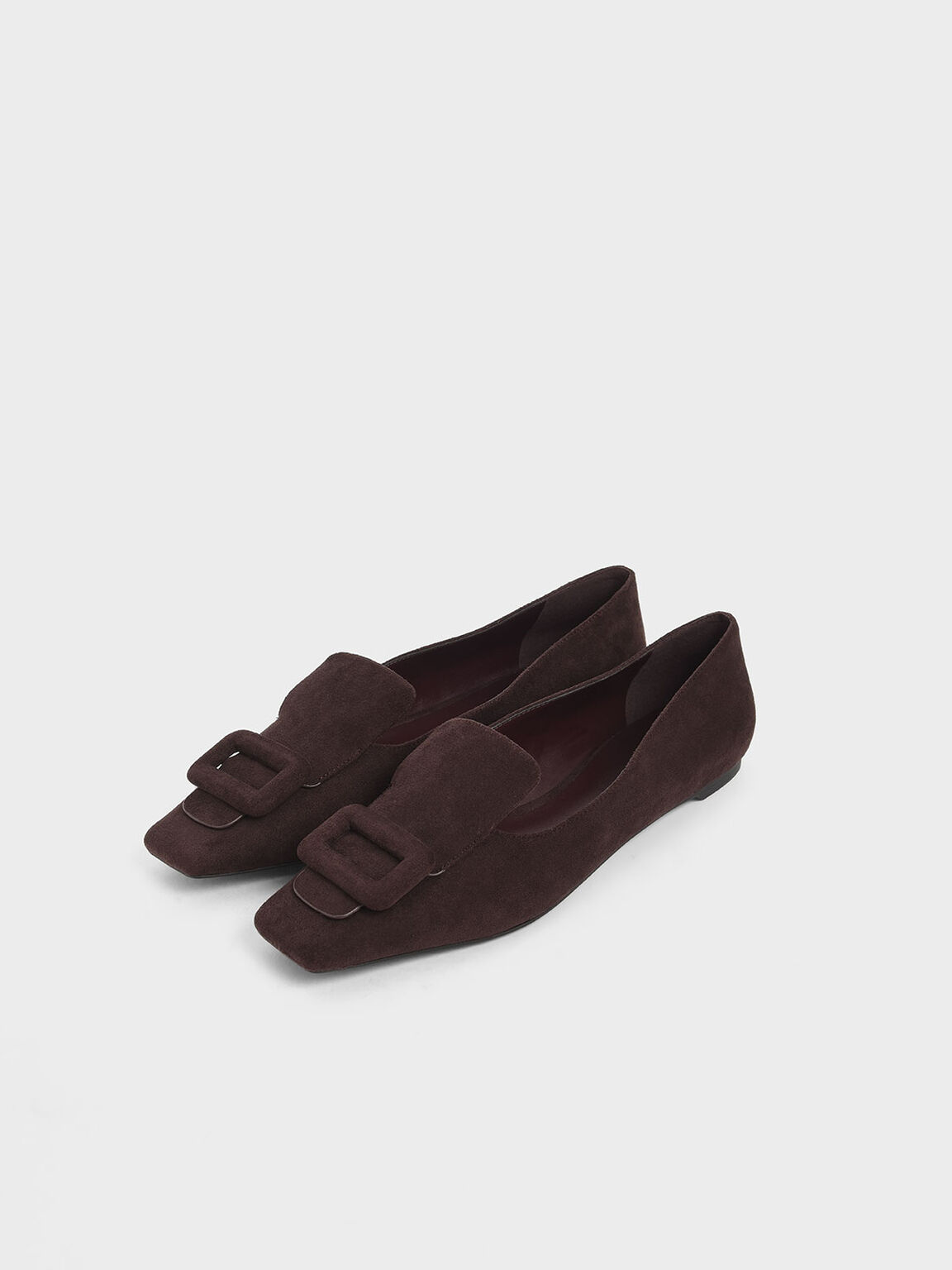 Oversized Buckle Textured Loafers, Maroon, hi-res