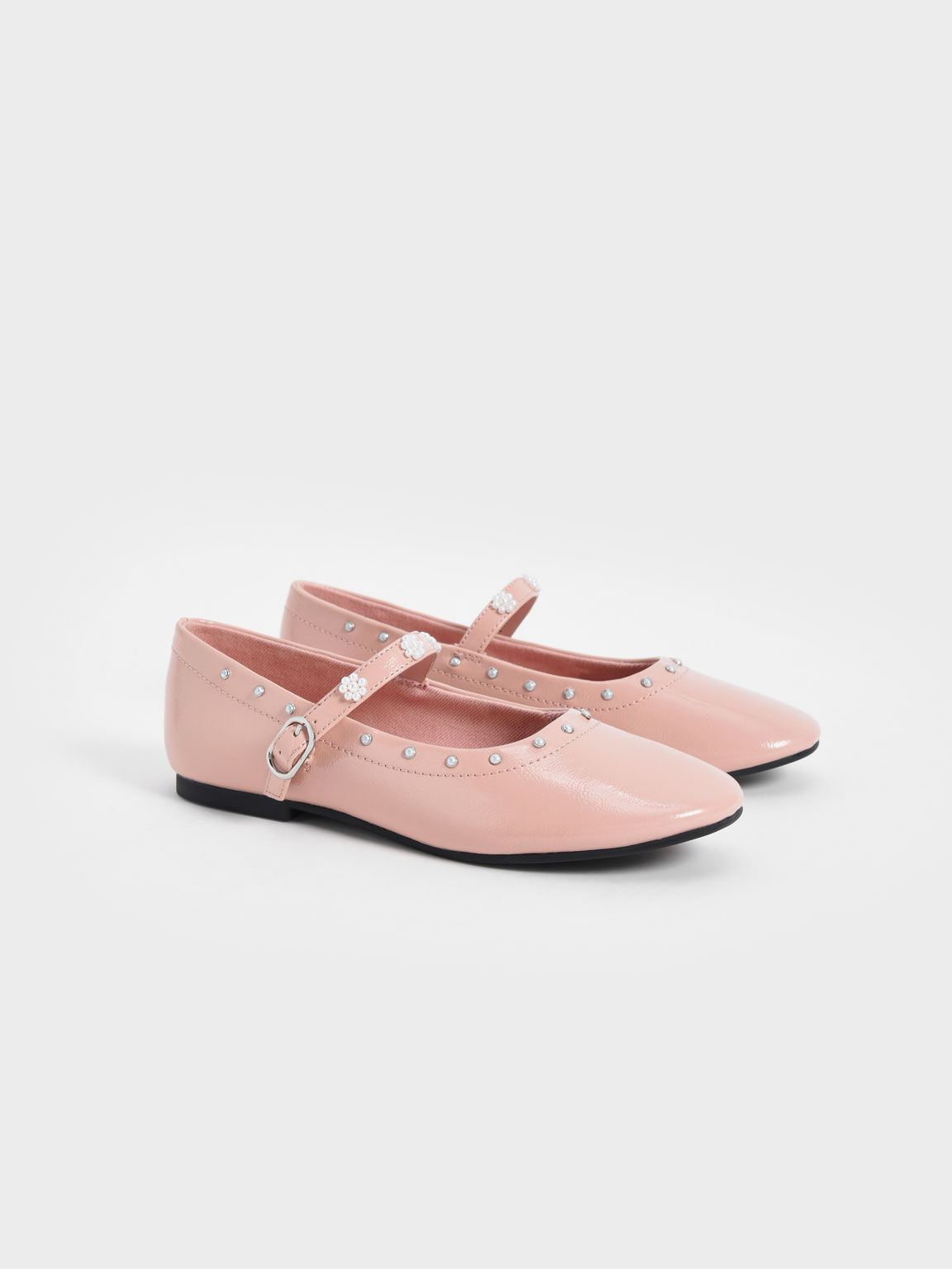 Girls' Patent Beaded Mary Janes, Pink, hi-res