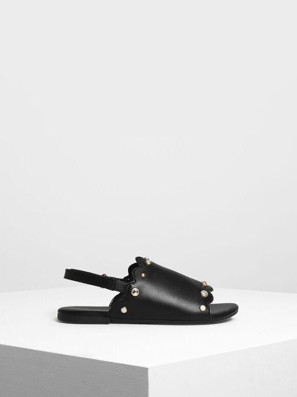兒童寶石涼鞋, 黑色, hi-res