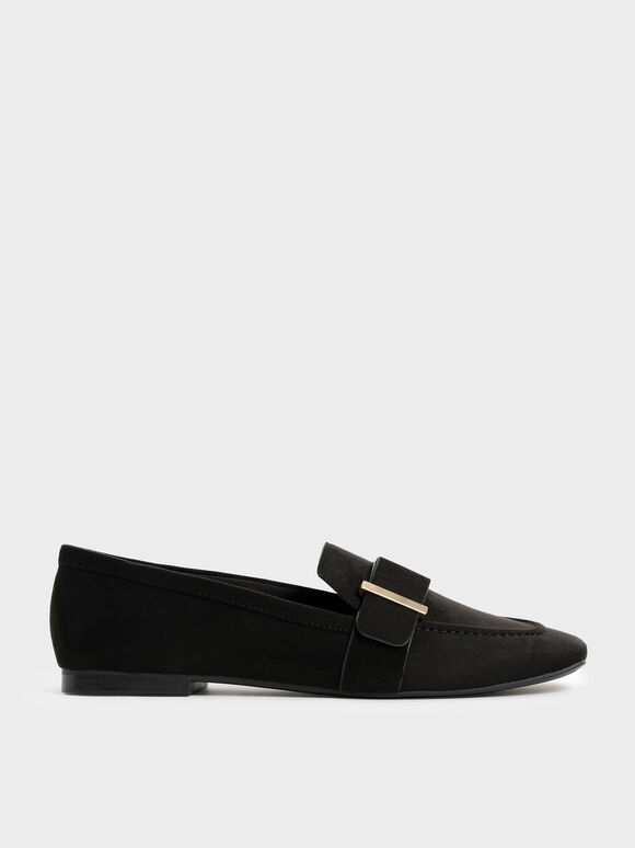Metallic Accent Textured Penny Loafers, Black Textured, hi-res