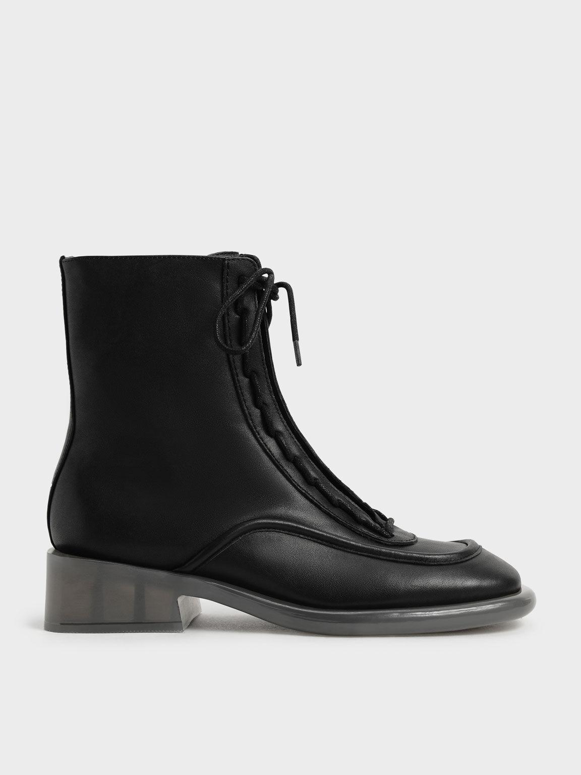 Fleur真皮厚底拉鍊靴, 黑色, hi-res