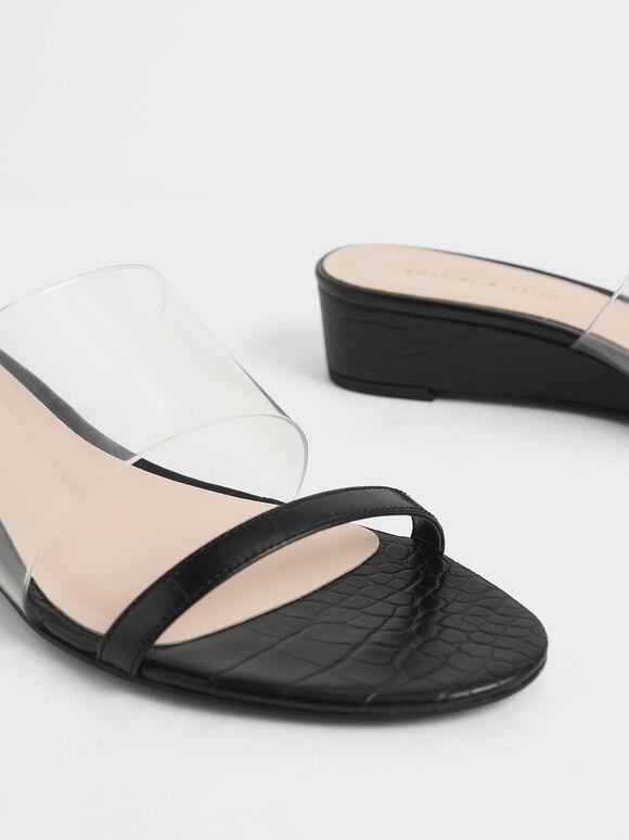 Croc-Effect Low Wedges, Black, hi-res