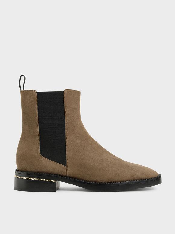 Chain-Trim Heel Textured Chelsea Boots, Olive, hi-res