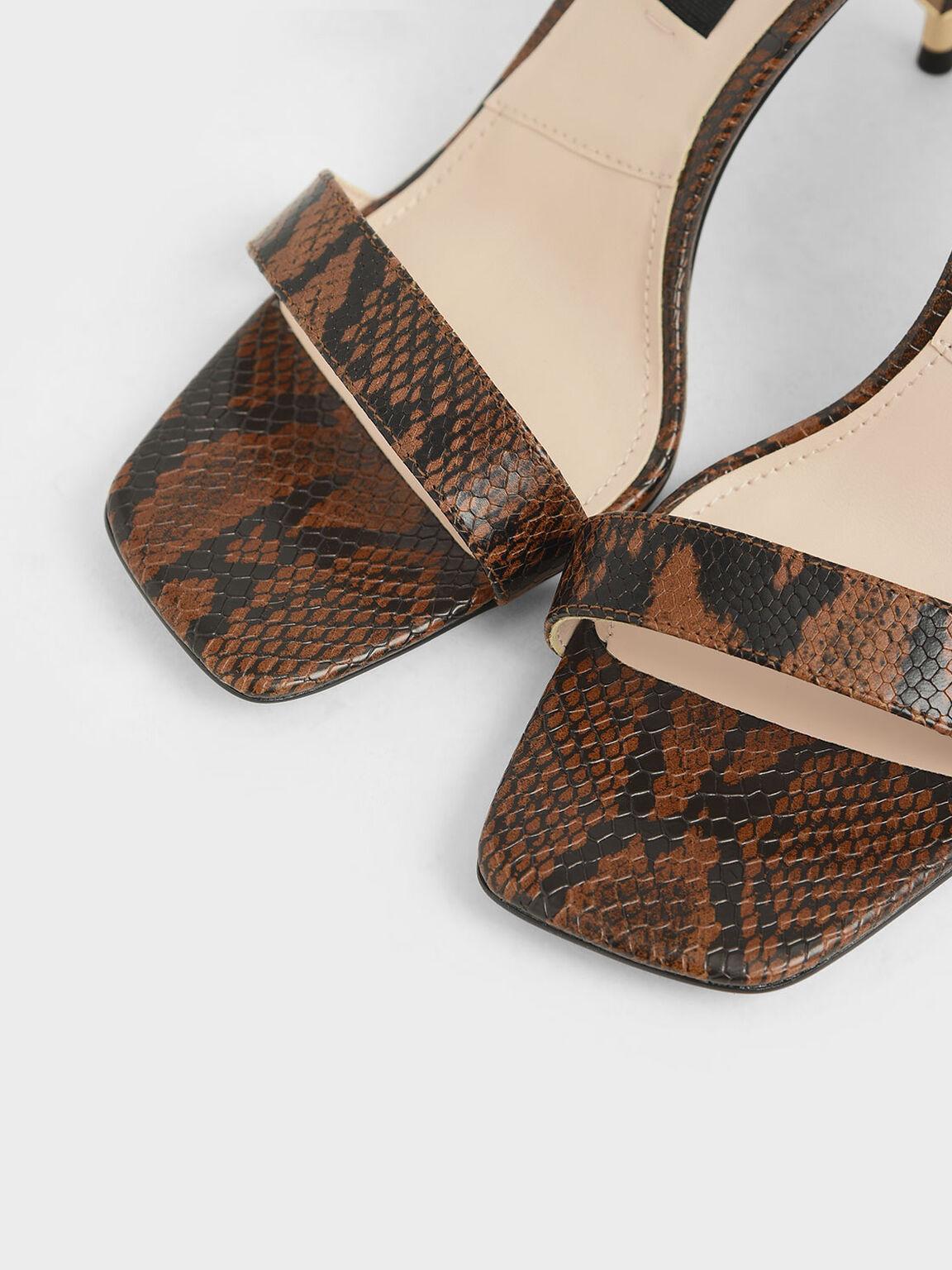 Snake Print Leather Stiletto Heels, Multi, hi-res