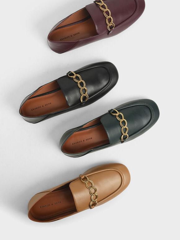Chain Strap Step-Back Loafers, Black, hi-res
