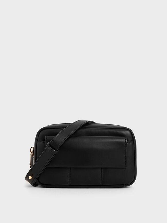 Quilted Rectangular Belt Bag, Black, hi-res