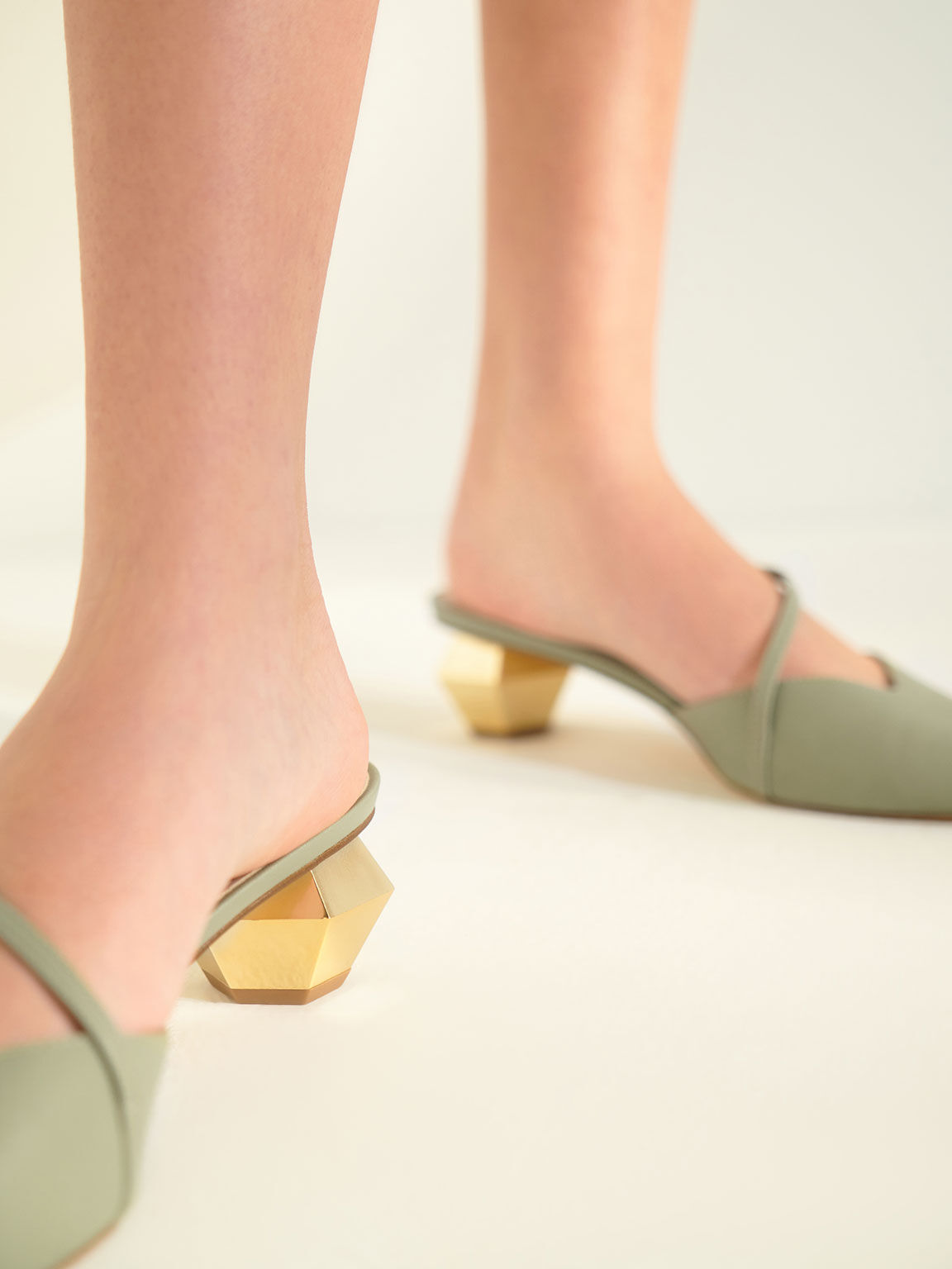 Asymmetric Strap Chrome Heel Mules, Sage Green, hi-res