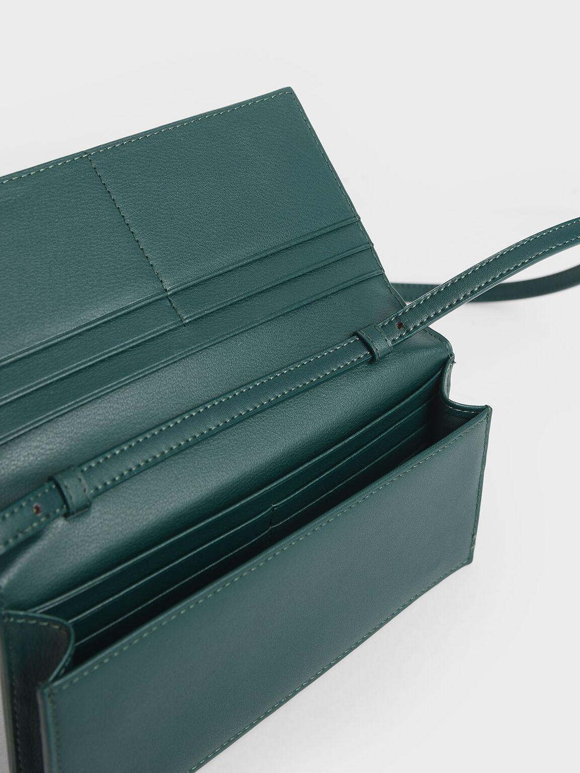 Mini Front Zip Long Wallet, Dark Green, hi-res