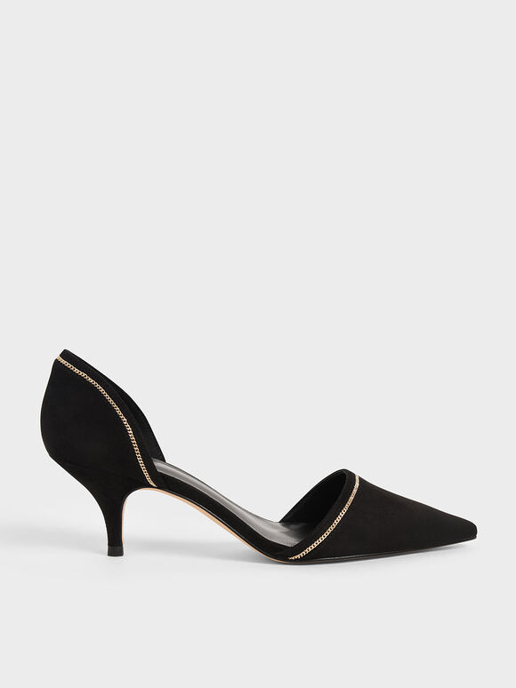 Embellished D'Orsay Pumps, Black, hi-res
