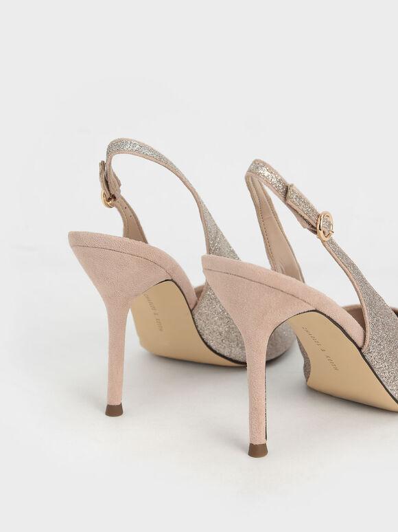 Glitter Slingback Stiletto Court Shoes, Champagne, hi-res