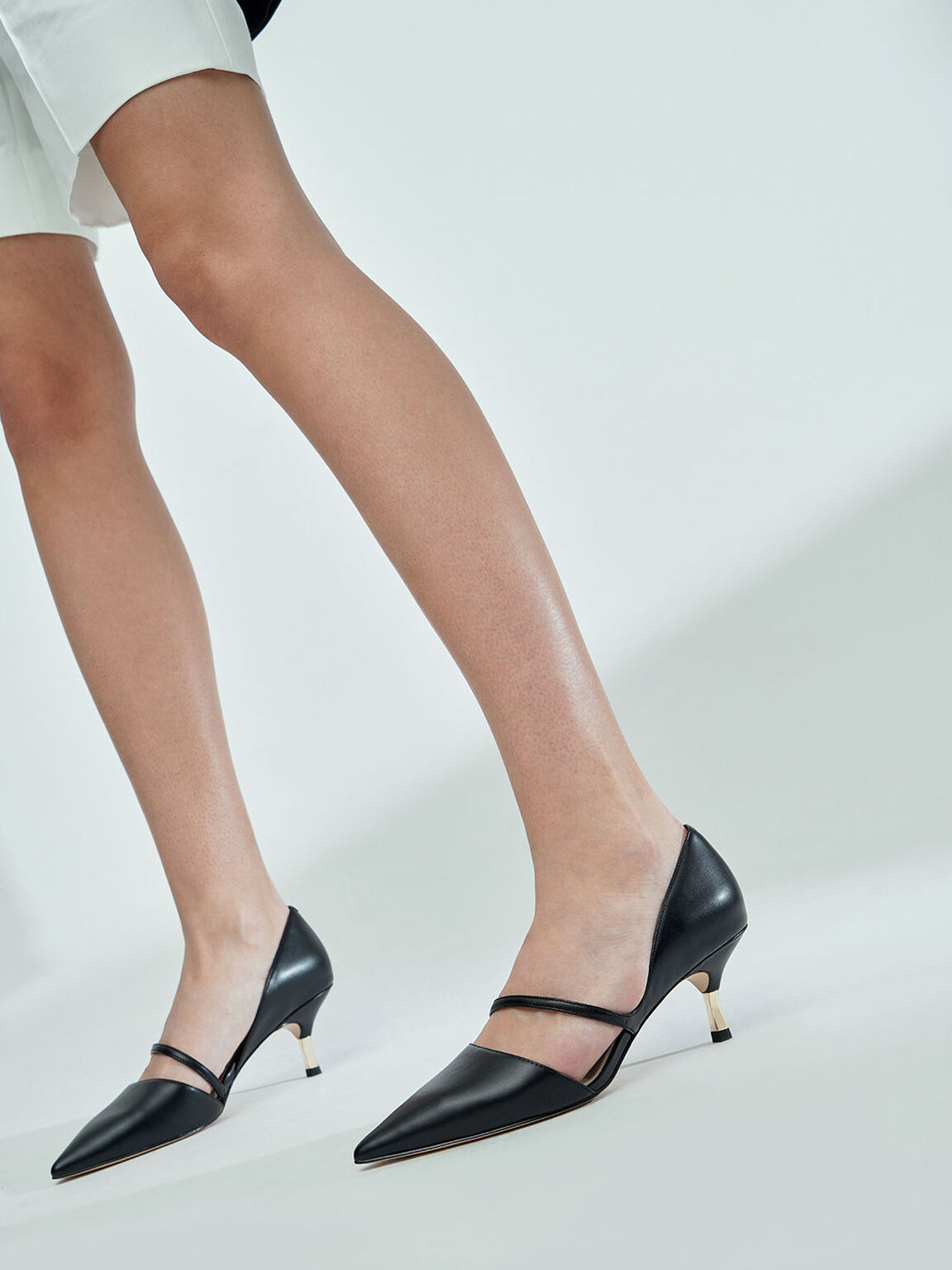 Asymmetric Strap D'Orsay Pumps, Black, hi-res