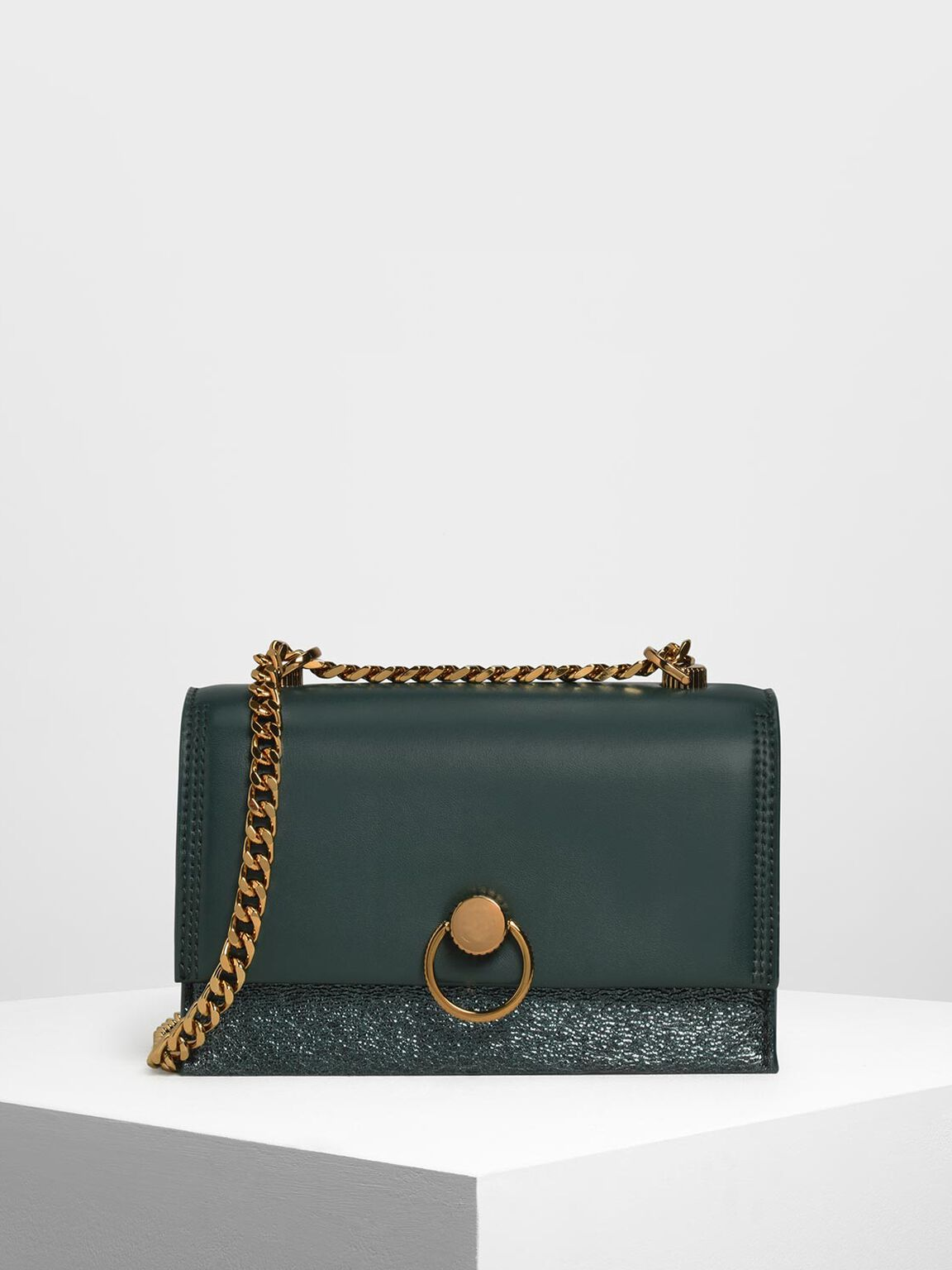 Metallic Ring Push Lock Bag, Green, hi-res