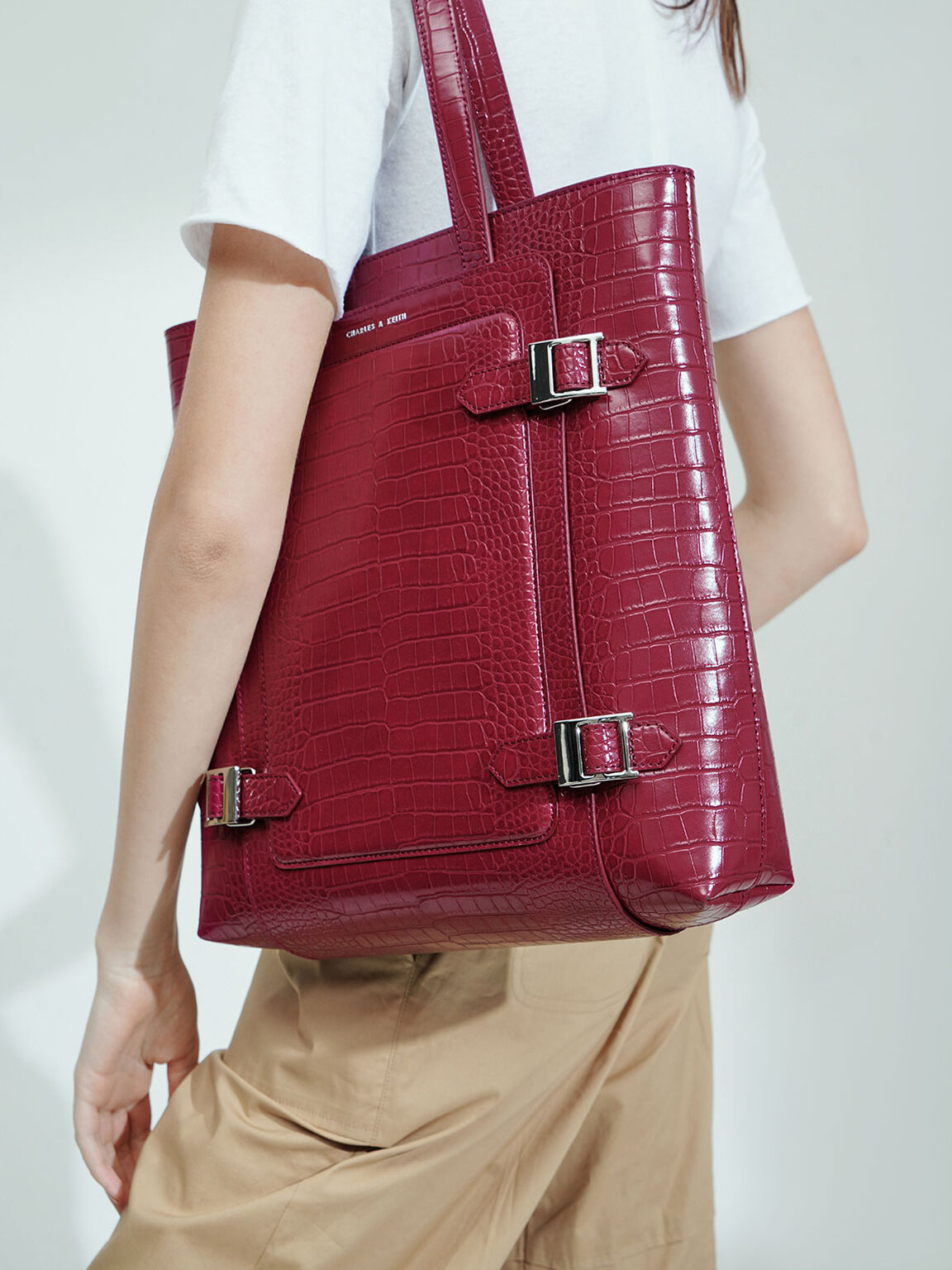 Croc-Effect Buckle Tote Bag, Berry, hi-res