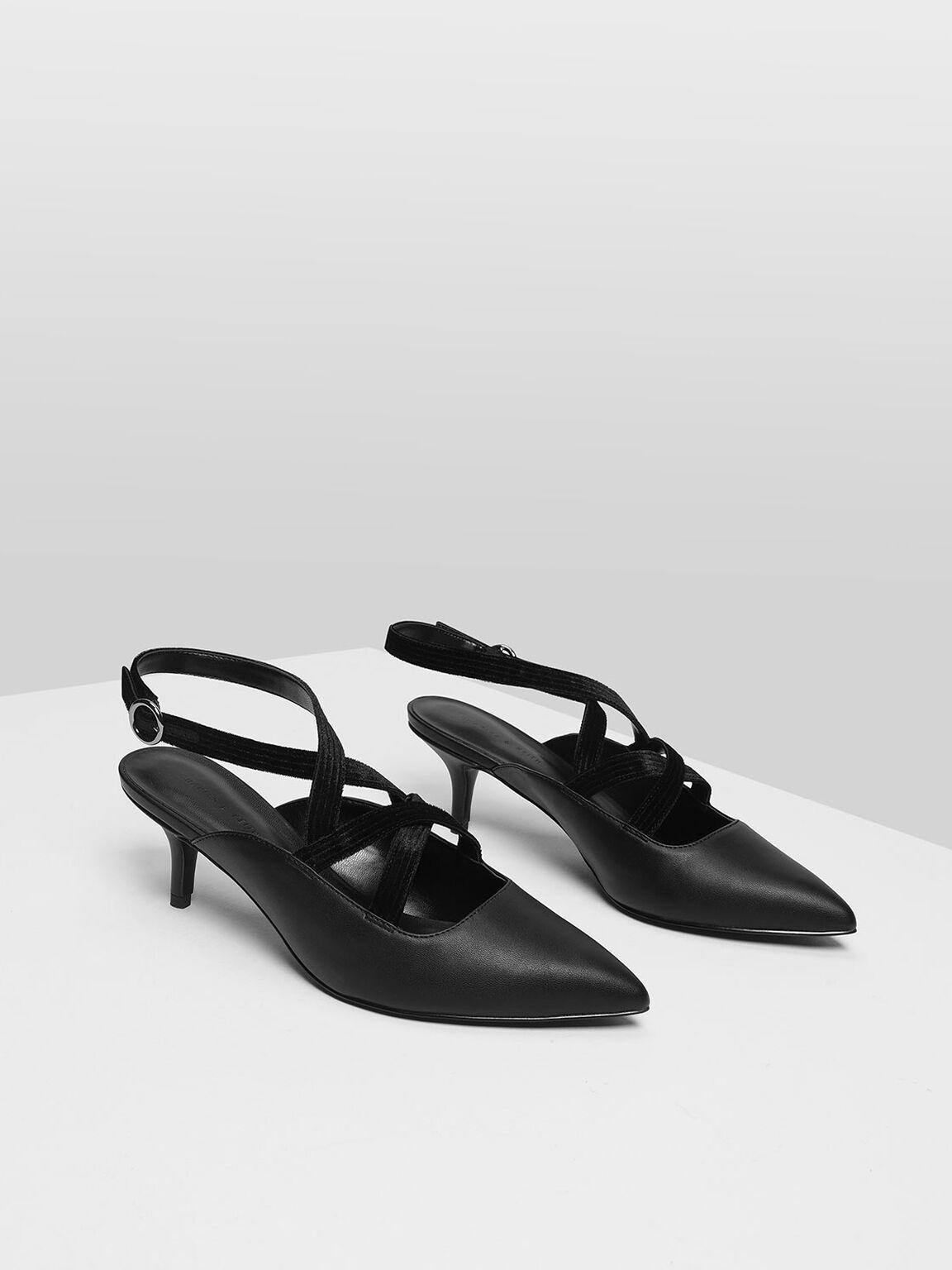 Criss Cross Velvet Strap Heels, Black, hi-res