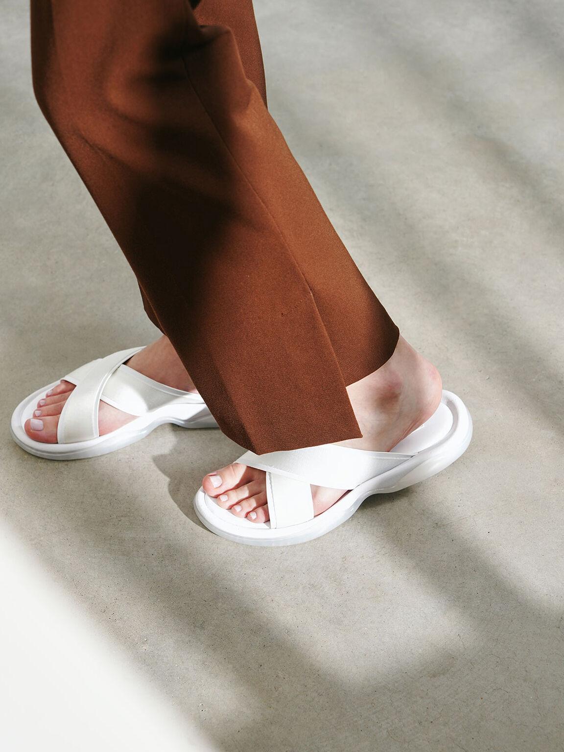 Grosgrain Slide Sandals, White, hi-res