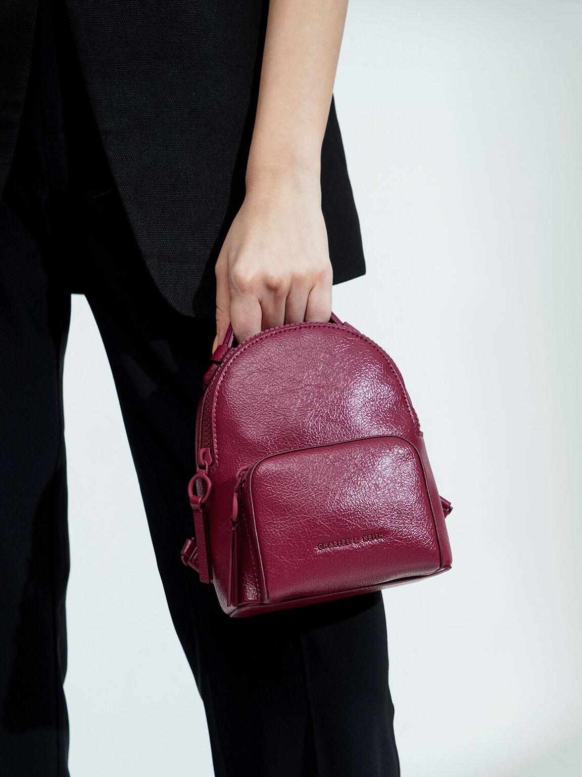 Double Zip Backpack, Berry, hi-res