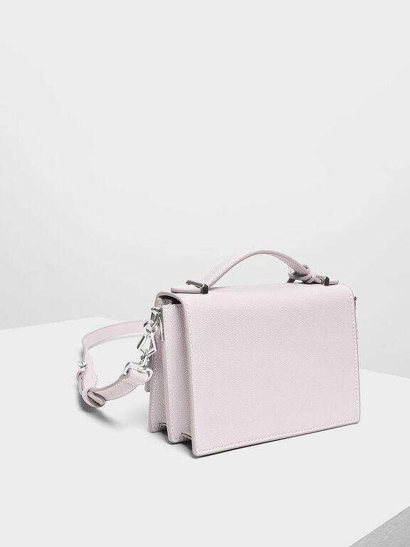 Structured Top Handle Bag, Lilac, hi-res