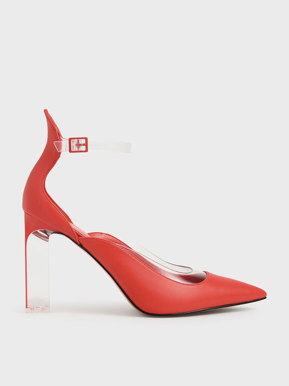 果凍拼接繞踝跟鞋, 紅色, hi-res