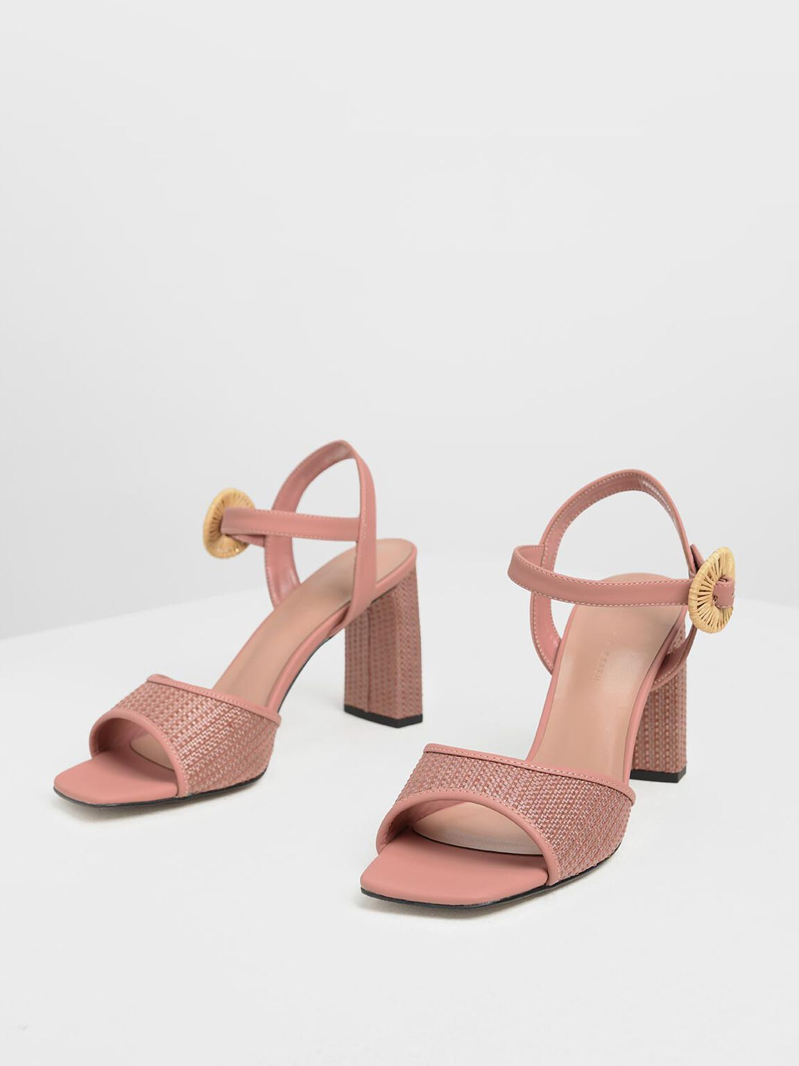 Raffia Buckle Heeled Sandals, Blush, hi-res