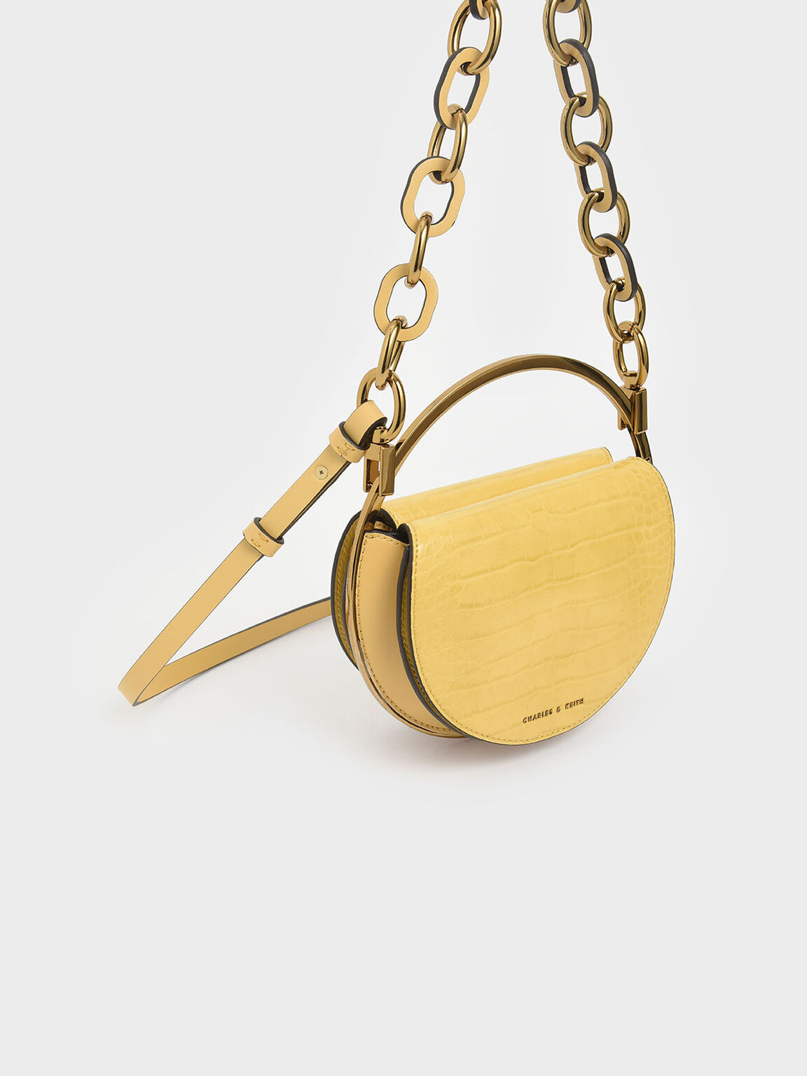 Croc-Effect Circle Clutch, Yellow, hi-res
