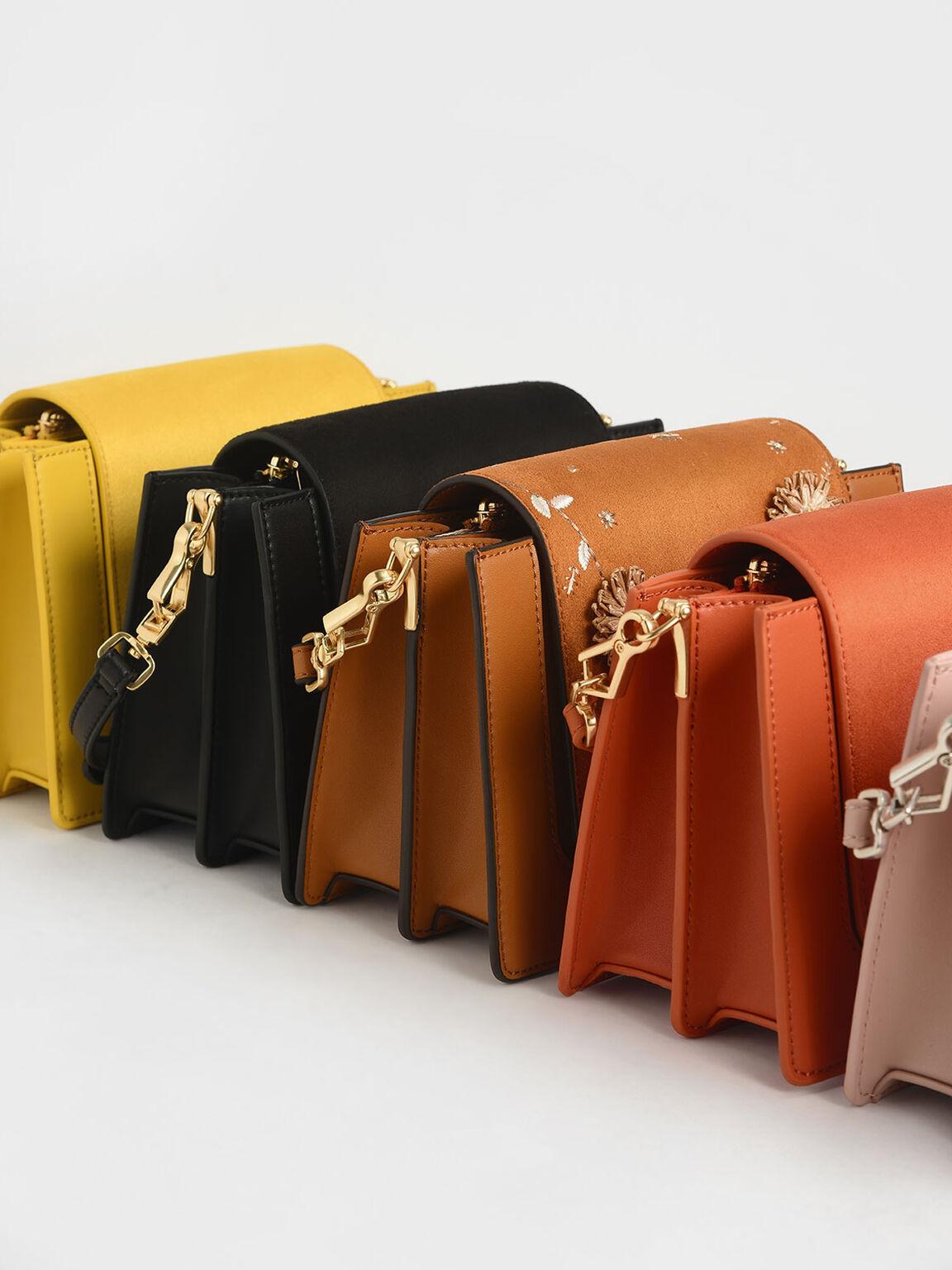 竹紋拉環斜背包, 橘色, hi-res