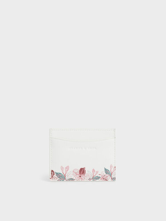 Floral Print Card Holder, White, hi-res