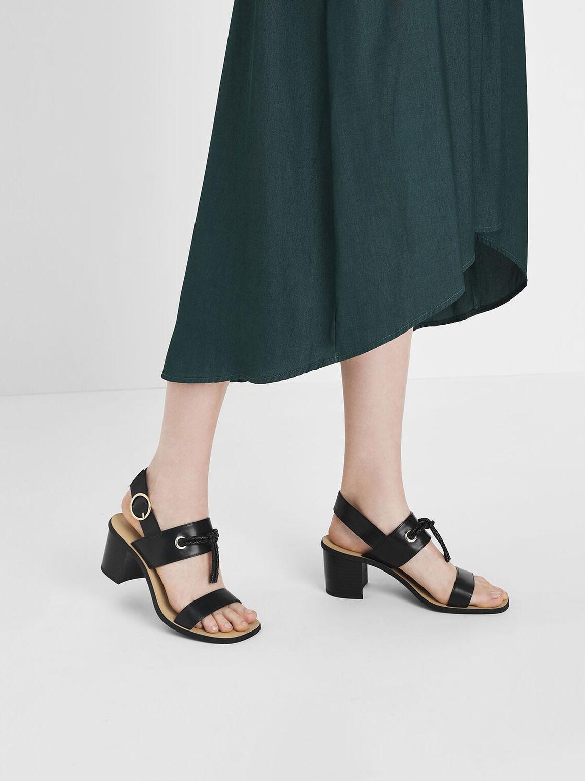 Braided Knot Block Heel Sandals, Black, hi-res