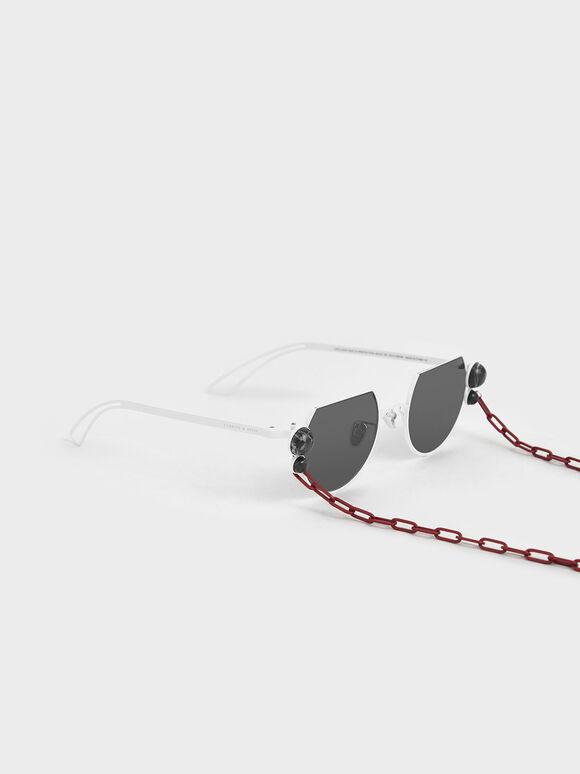 Onyx Stone Chain Link Round Cut-Off Sunglasses, White, hi-res