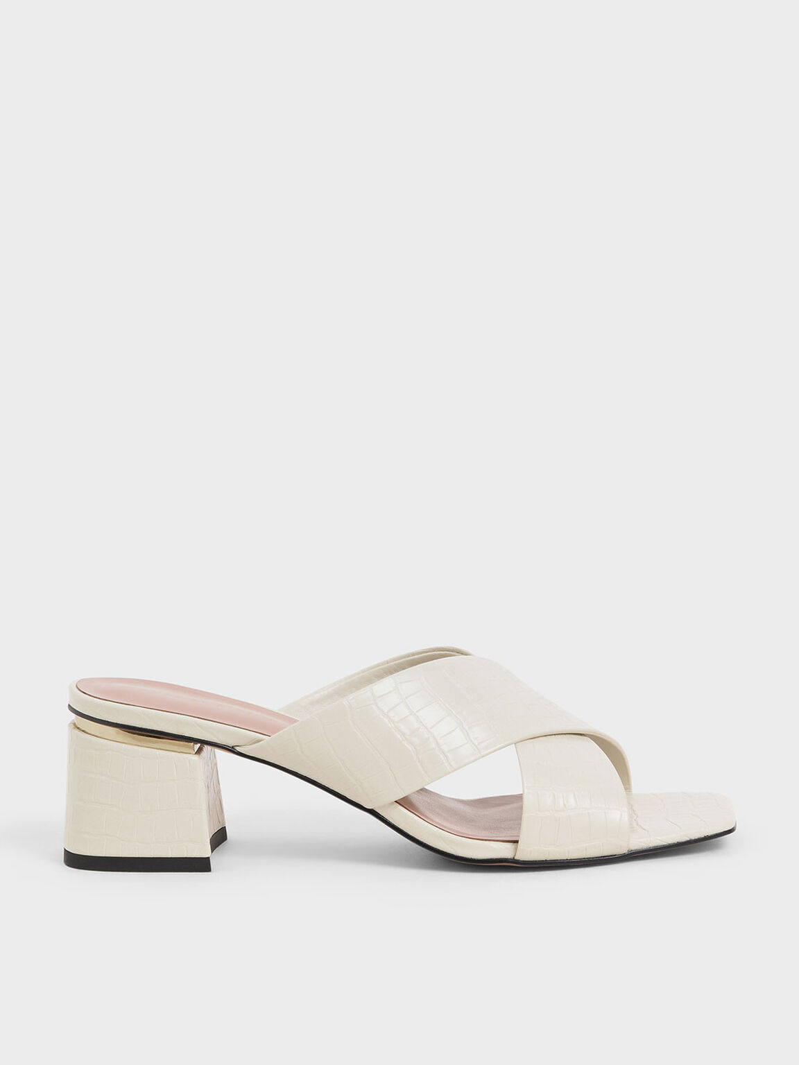 Croc-Effect Criss Cross Mules, Chalk, hi-res