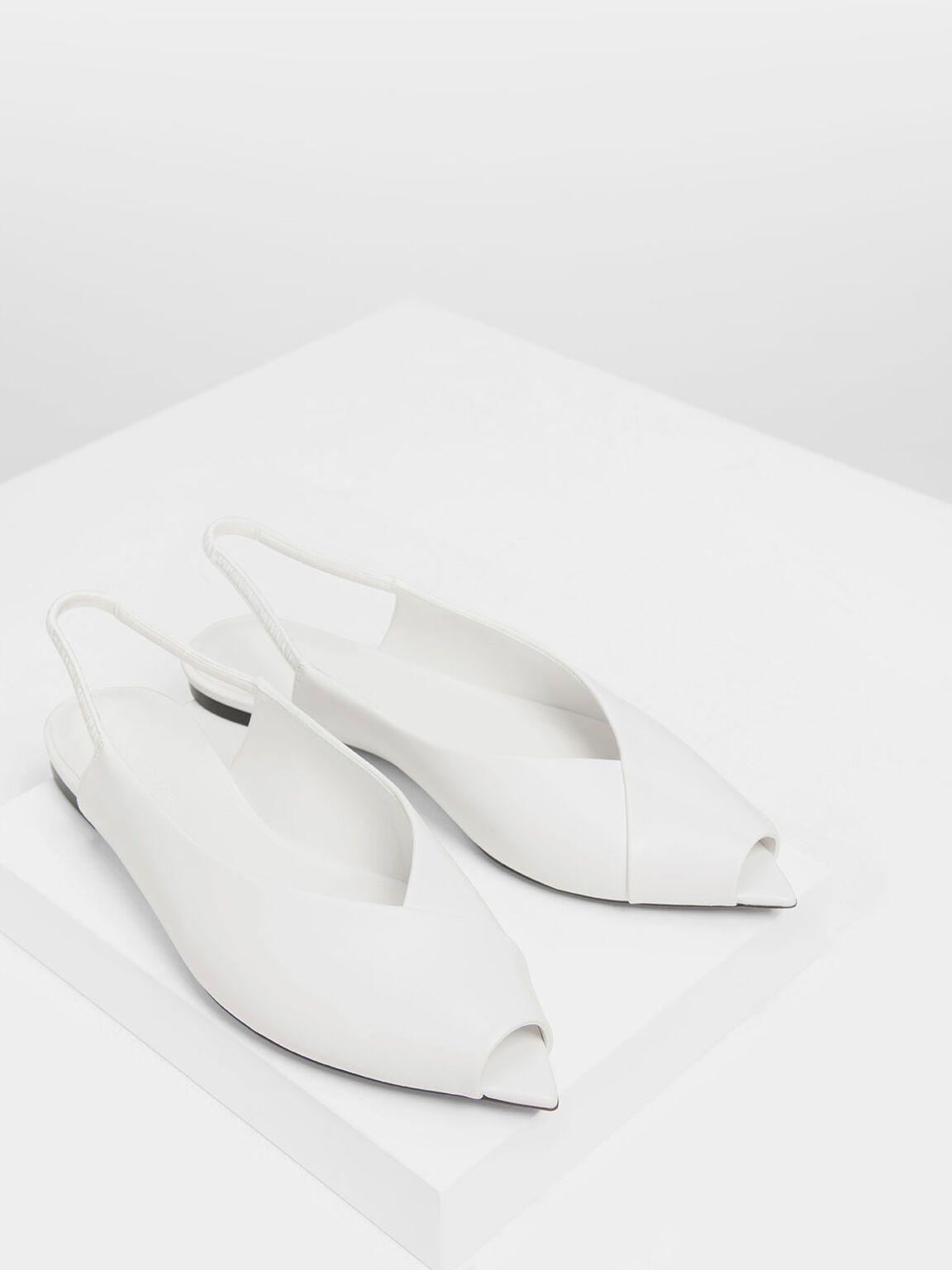 Pointed Peep Toe Slingback Flats, White, hi-res