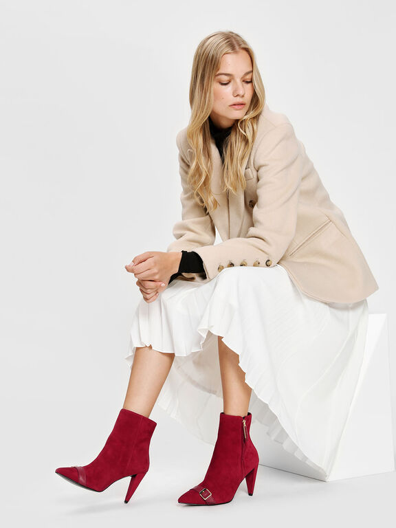 Leather Strap Detail Suede Boots, Red