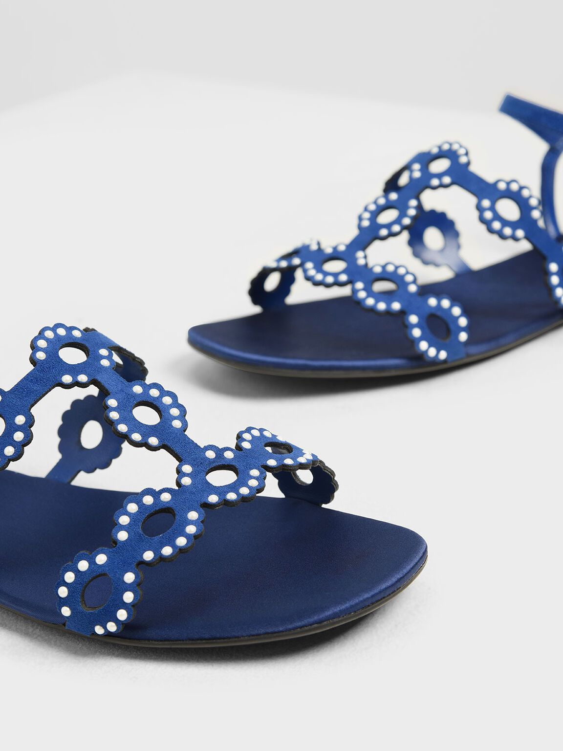 Cut-Out Embellished Sandals, Blue, hi-res