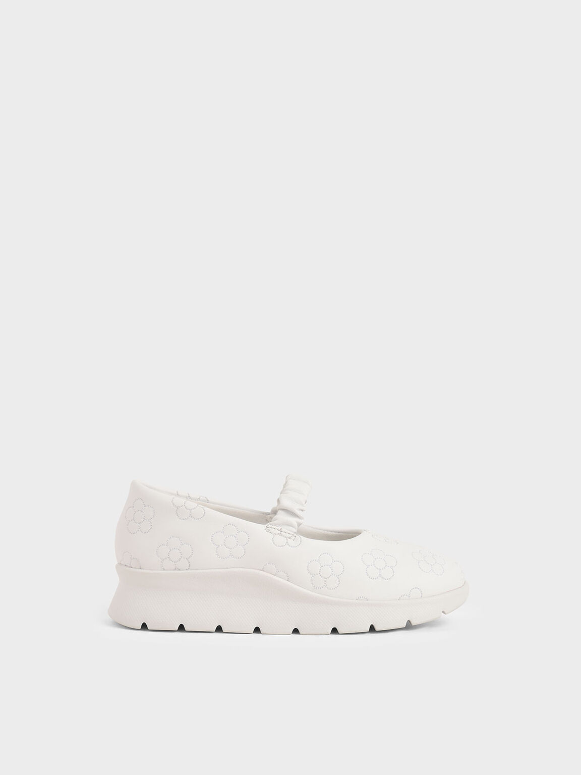 Girls' Printed Ruched Strap Slip-On Sneakers, White, hi-res