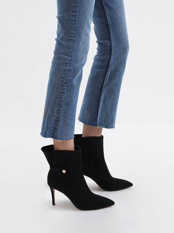 Textured Stiletto Heel Ankle Boots, Black, hi-res