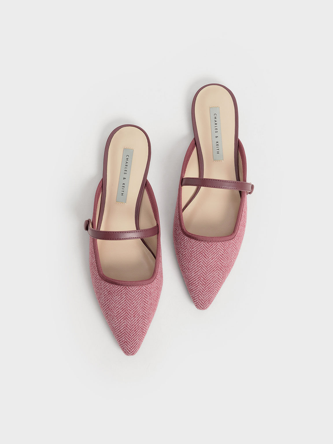Woven Fabric Mary Jane Mules, Red, hi-res