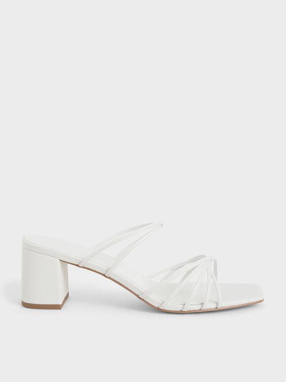 Strappy Square Toe Sandals, White, hi-res