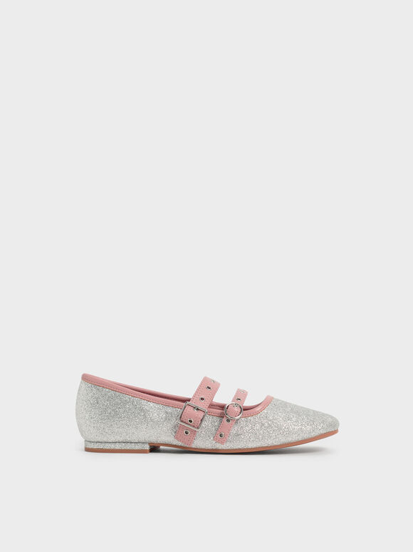 兒童金蔥雙帶瑪莉珍鞋, 銀色, hi-res