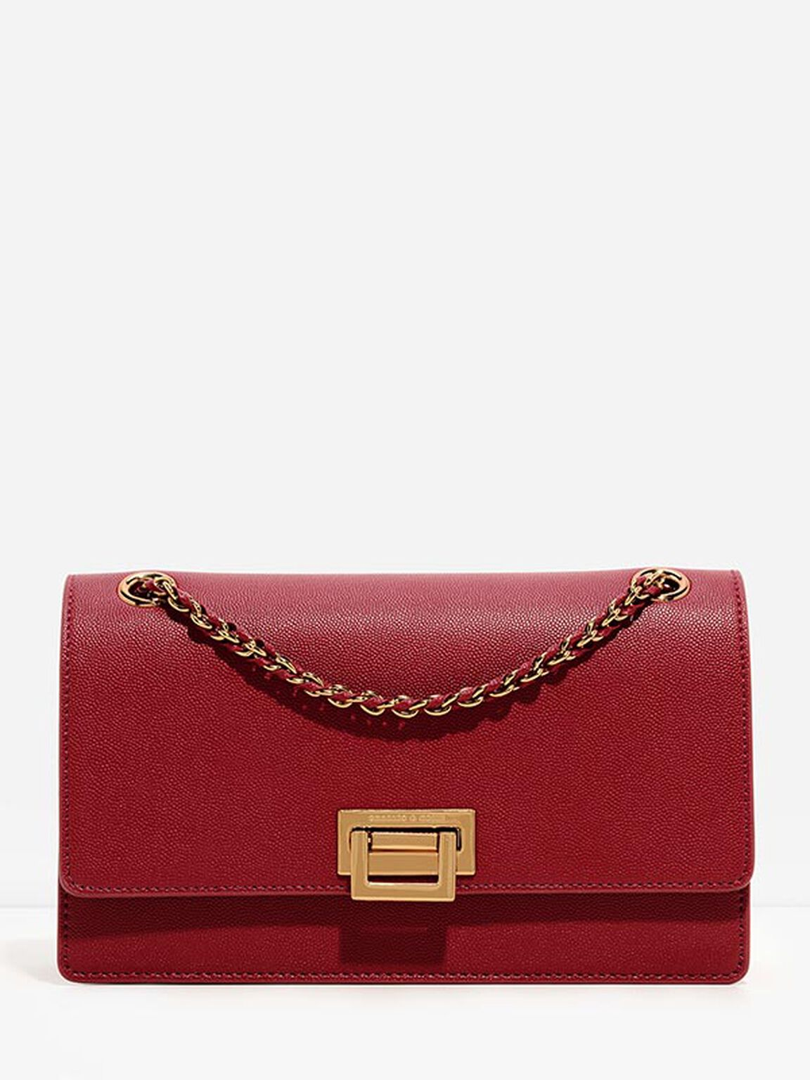 Weave Chain Shoulder Bag, Red, hi-res