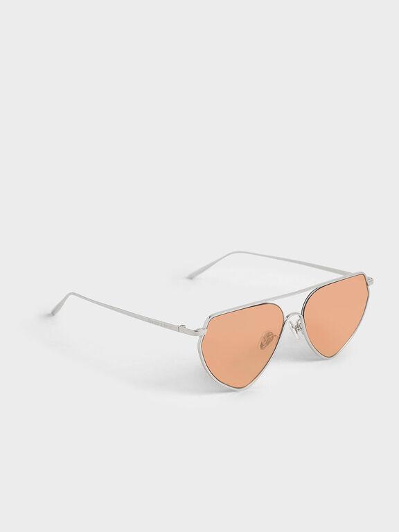 Thin Metal Frame Geometric Sunglasses, Orange