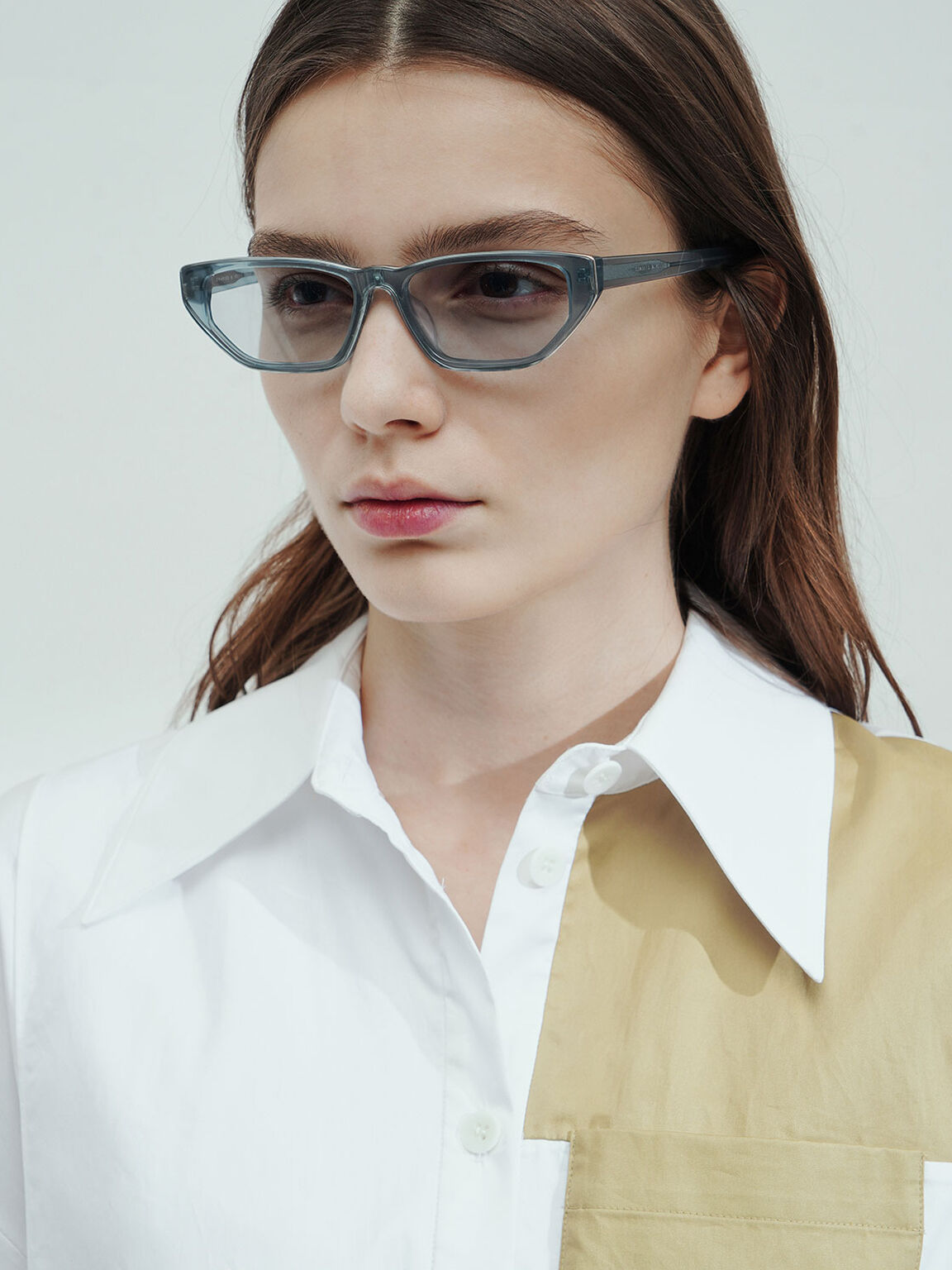 Acetate Cat-Eye Sunglasses, Blue, hi-res