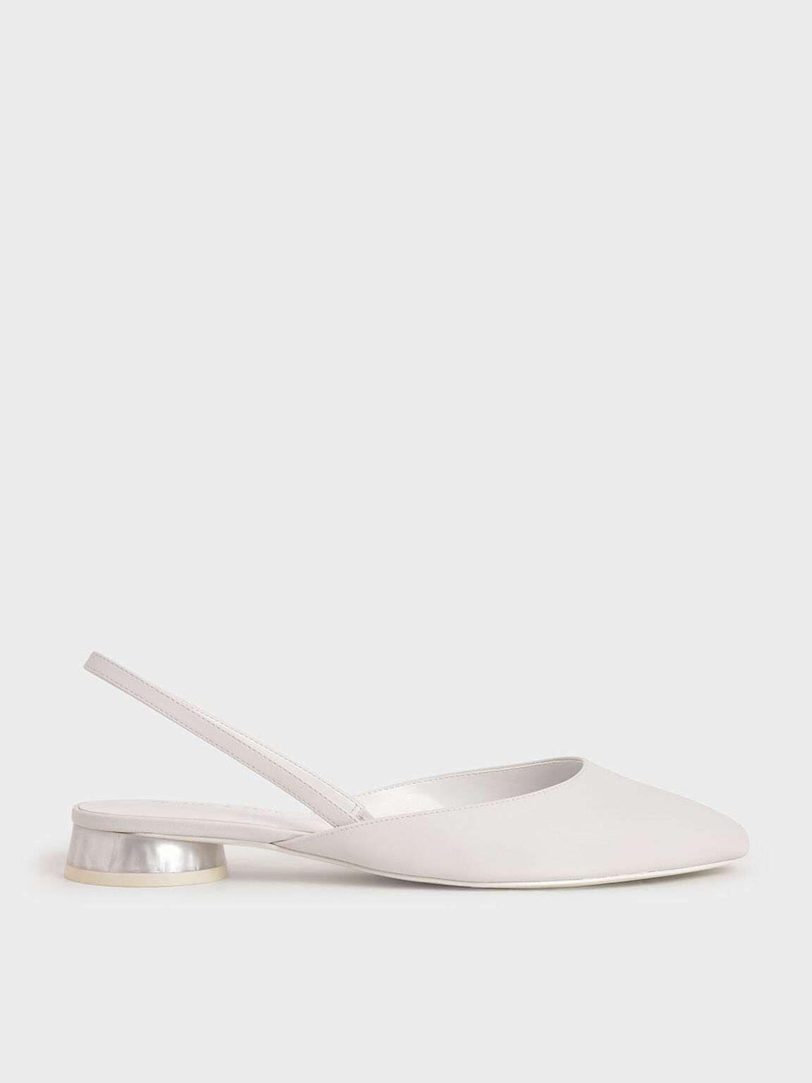 Cylindrical Heel Slingback Pumps, White, hi-res