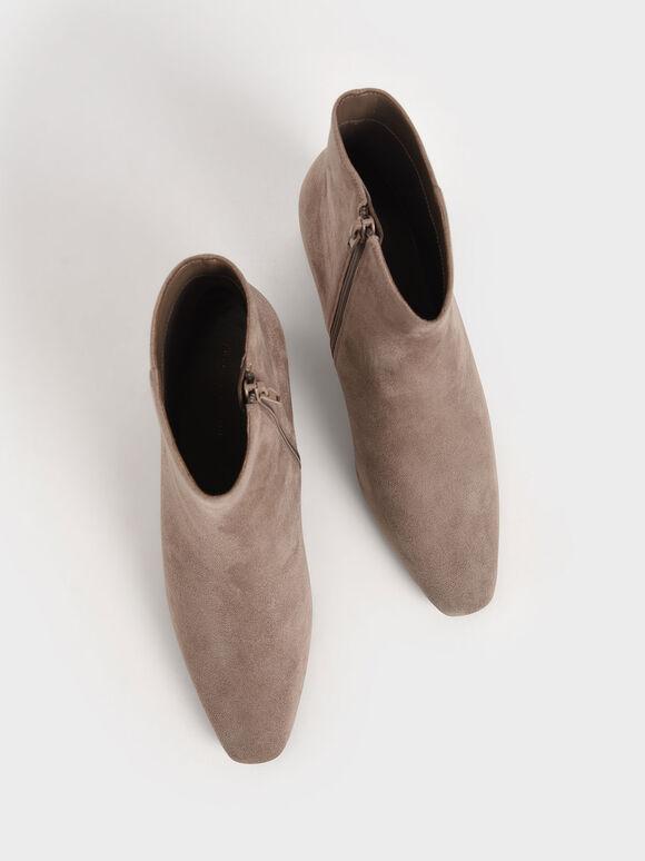 素面粗跟踝靴, 灰褐色, hi-res