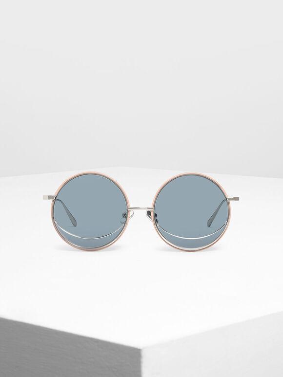 Circle Frame Sunglasses, Blue, hi-res