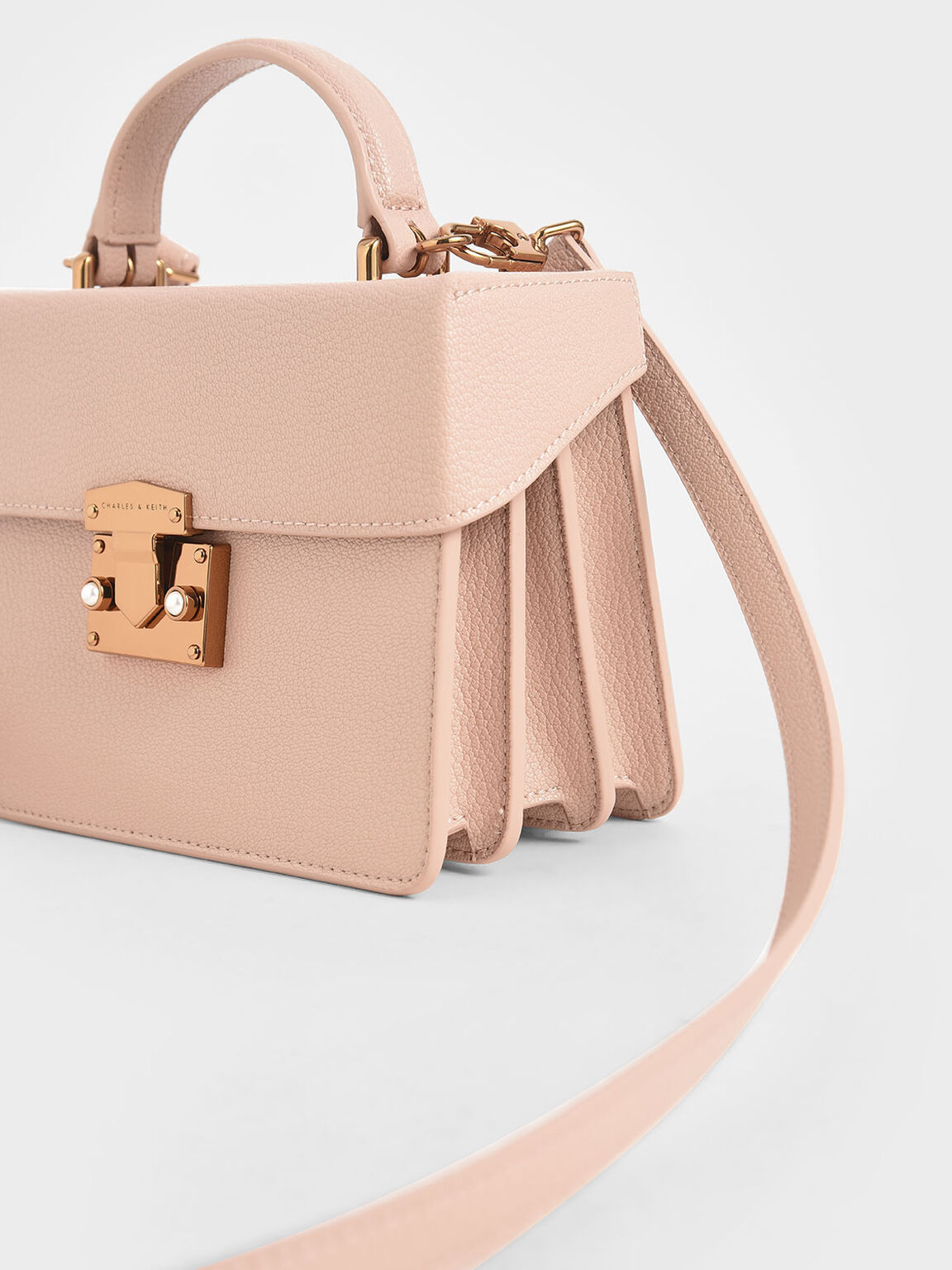 Classic Push-Lock Top Handle Bag, Nude, hi-res